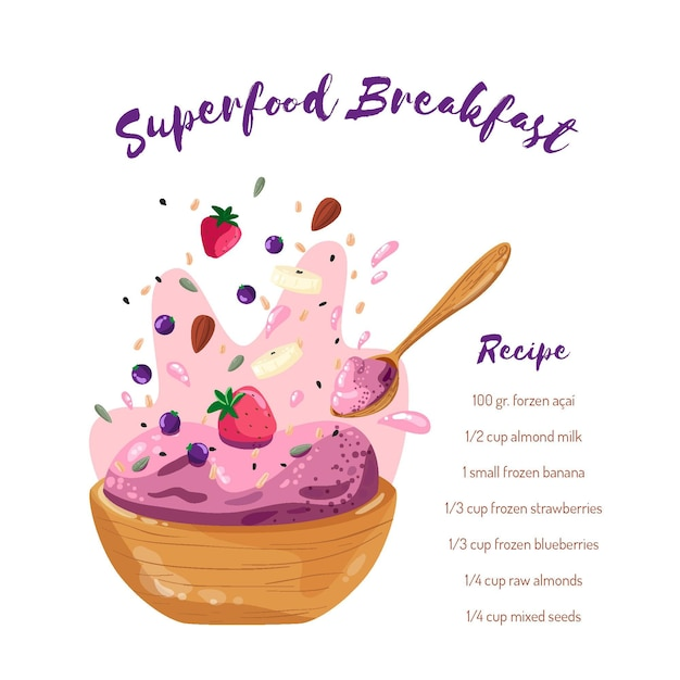Acai bowl recipe with strawberries Free Vector