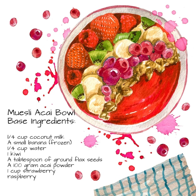 Free Vector | Acai bowl recipe (626 x 626 Pixel)