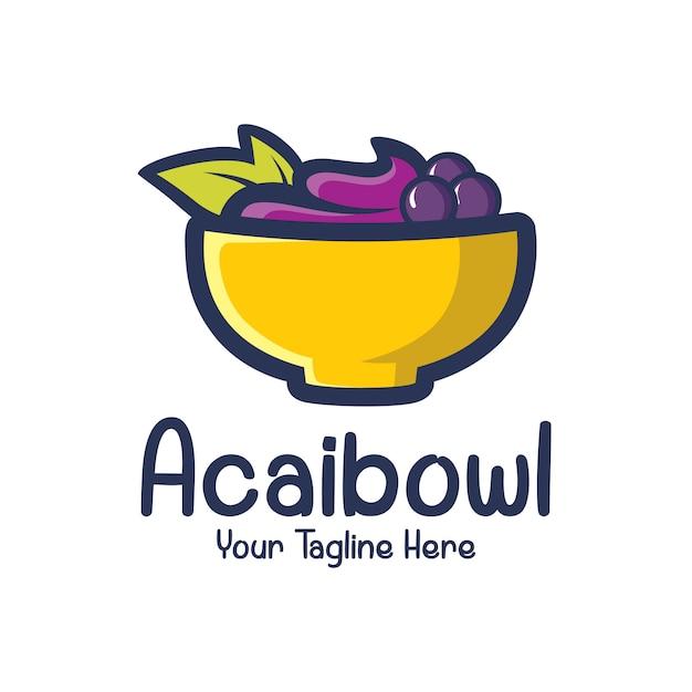 Acai в миске логотипа дизайн шаблона Premium векторы
