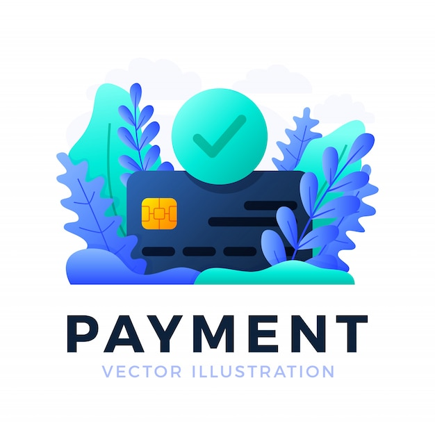 Accepted payment credit card vector  illustration isolated . the concept of a successful bank payment transaction. the front side of the card with a check mark in a circle. Premium Vector