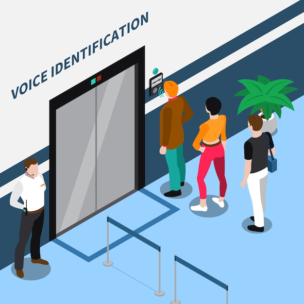 Access identification isometric composition Free Vector