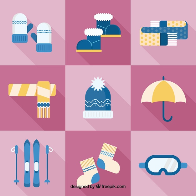 Accessories and elements of winter collection\ in flat design