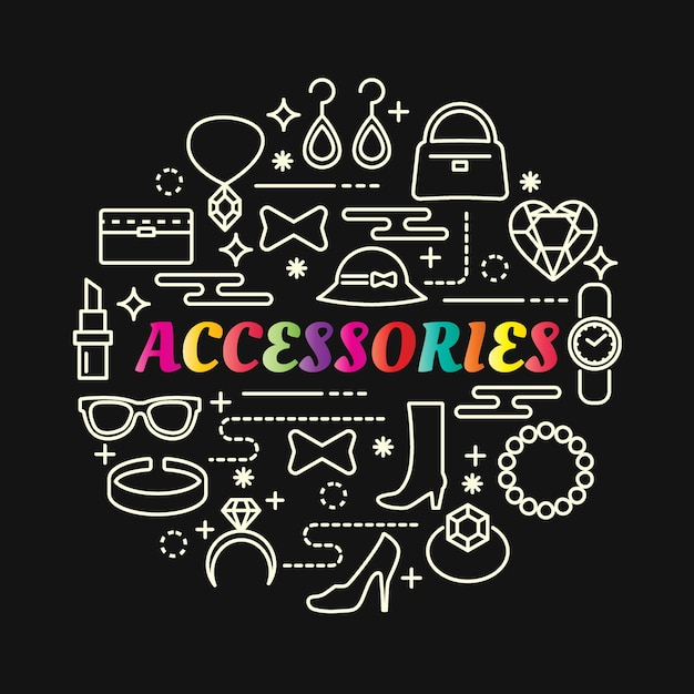 Accessories colorful gradient with line icons set Premium Vector