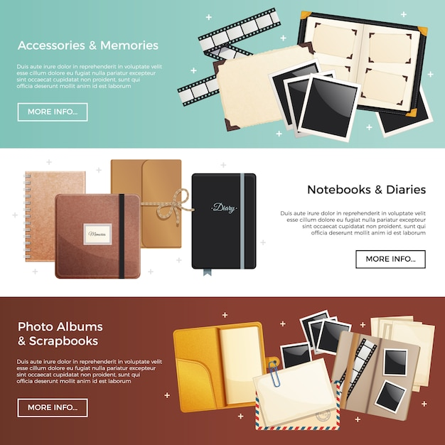 Accessories and memories horizontal banners with photo albums scrapbooks notebooks diaries decorative elements Free Vector