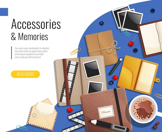 Accessories and memories template Free Vector