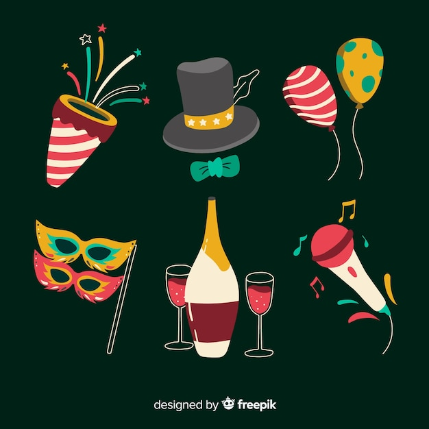 Accessories for new year 2020 party Free Vector