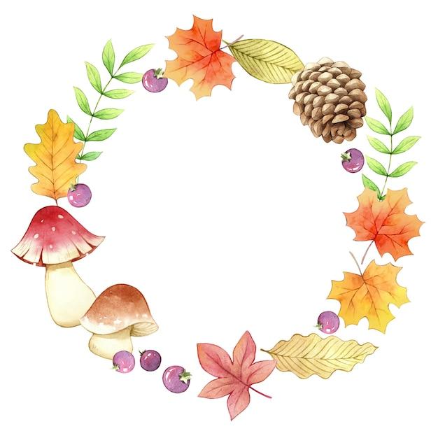 Accessory autumn circle frame watercolor Premium Vector