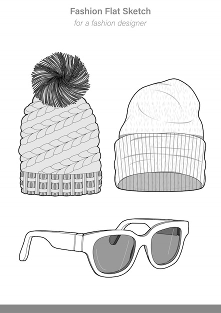 84aa7997d8d Accessory hats set technical drawings illustrator vector template Premium  Vector