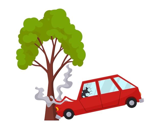 Дтп на дороге автомобиль поврежден. значок дорожно-транспортного происшествия. автокатастрофа при встрече с деревом. страхование поврежденного автомобиля. поврежденный авто. не подлежит восстановлению. Premium векторы