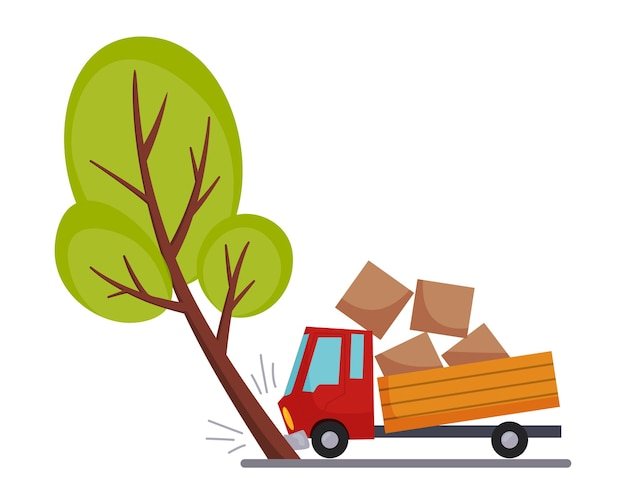 ロードカーの事故で破損。交通事故のアイコン。木に出会ったときにトラックがクラッシュした。 Premiumベクター