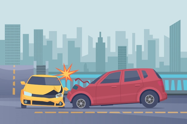 Accident road background. damaged spped cars in urban landscape emergency help broken transport  pictures Premium Vector