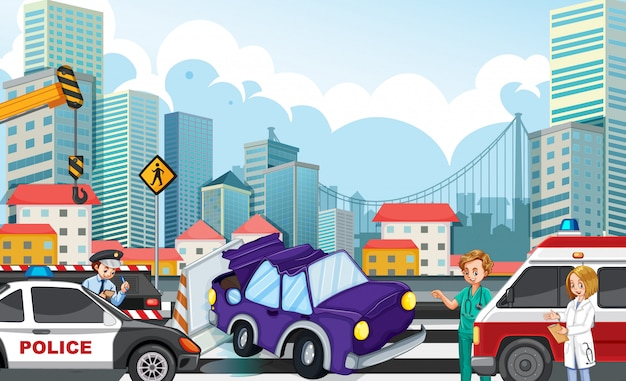 Accident scene with car crash on highway illustration Free Vector