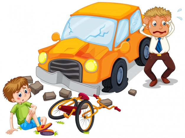 Accident scene with car crashing a bike Free Vector