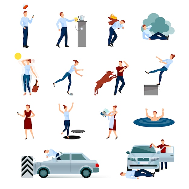 Accidents injuries dangers decorative character set with fallings poisoning bites of animals road crashes isolated vector illustration Premium Vector