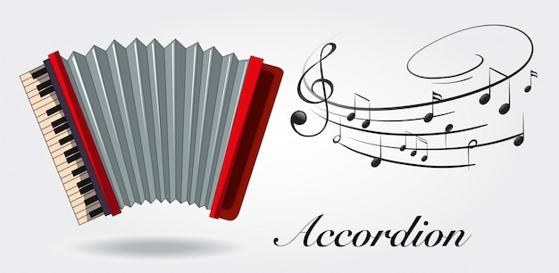 Accordion and music notes on white background Free Vector