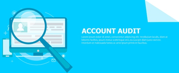 Account audit banner. a computer with a magnifying glass pointed at it. Free Vector