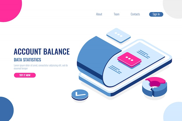 Account balance, data statistics Free Vector