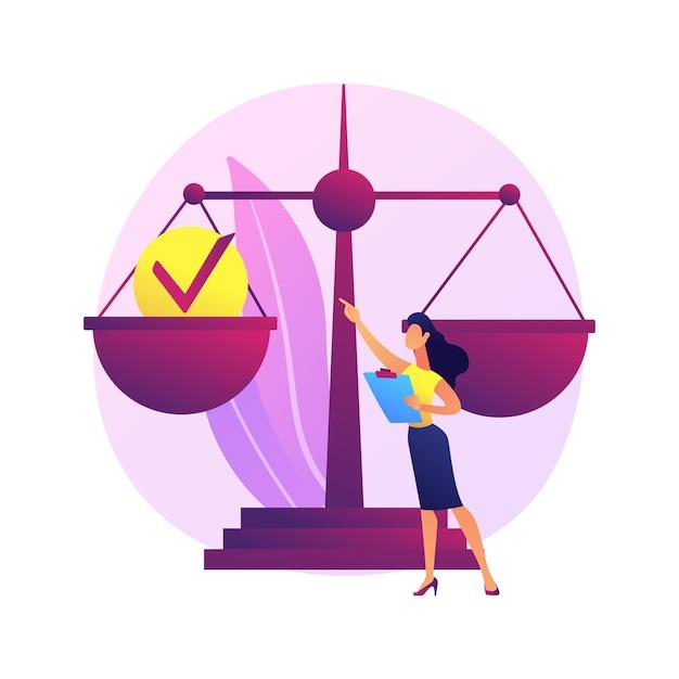 Иллюстрация абстрактной концепции подотчетности. юридическая ответственность, личная и общественная ответственность, ответственность за действия и решения, руководящие роли Бесплатные векторы