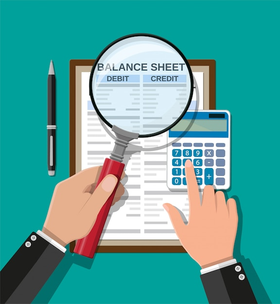 Accountant checks money balance Premium Vector