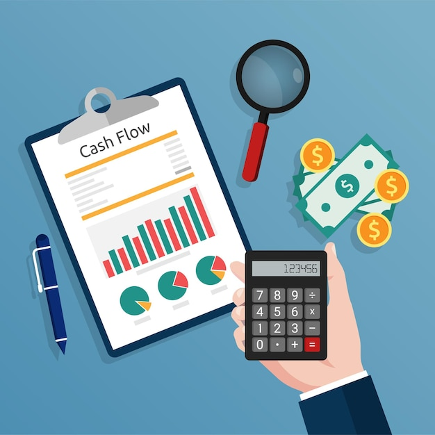 Accountant holding a calculator checks cash flow report concept illustration. Premium Vector