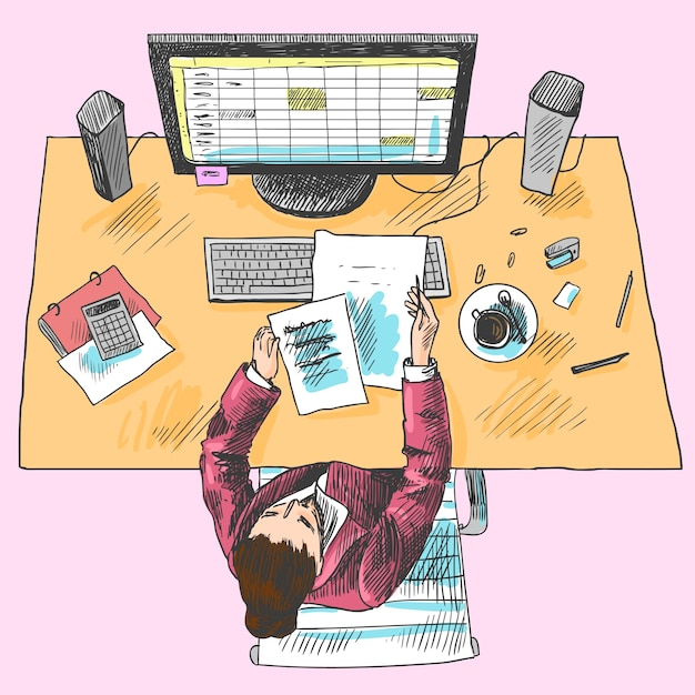 Accountant office employee work place tools with woman sitting on table colored top view sketch vector illustration Free Vector