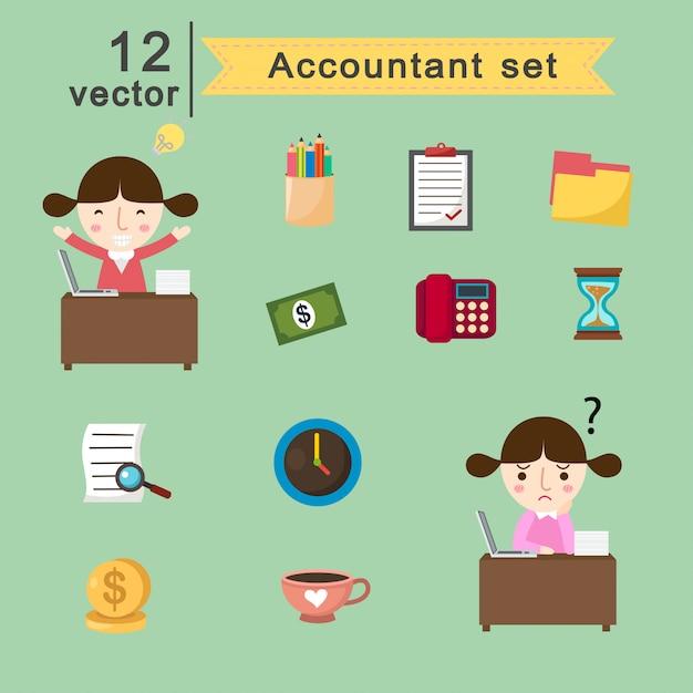 Accountant set.vector illustration Premium Vector