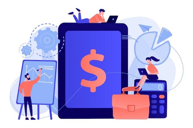 Бухгалтеры работают с программным обеспечением для финансовых операций и планшетами. бухгалтерский учет предприятия, система учета ит, иллюстрация концепции инструментов умного предприятия Бесплатные векторы