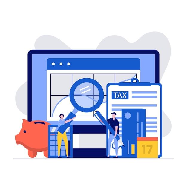 Концепция бухгалтерского учета и финансового менеджмента с характером и документами для расчета налогов. Premium векторы