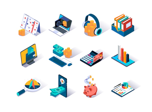 Accounting and auditing isometric icons set. Premium Vector
