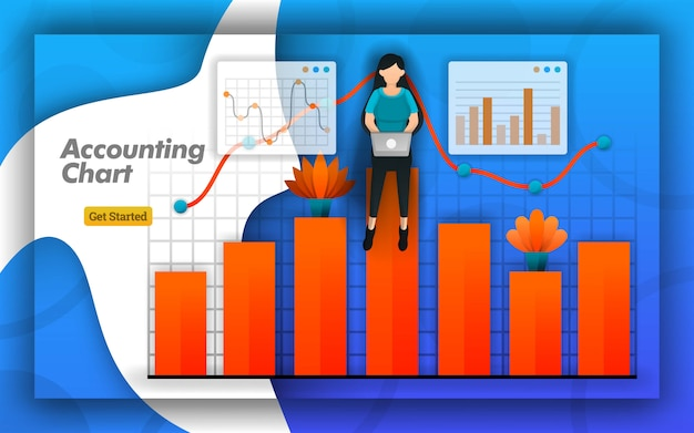 Accounting chart design for web and poster Premium Vector