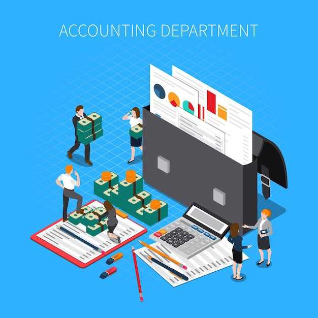 Accounting department isometric composition with financial documents folders reports statements tax calculator cash banknotes staff Free Vector