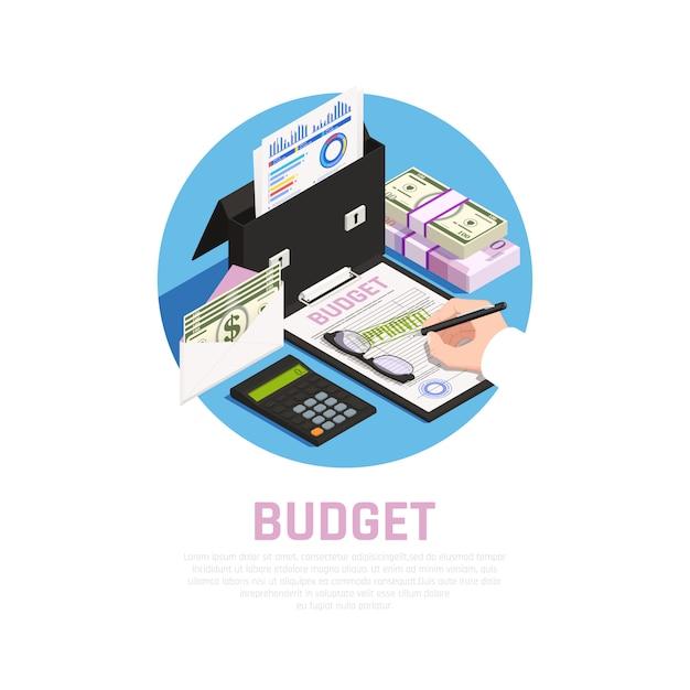 Composizione rotonda isomerica di contabilità con calcolo del bilancio sul blu Vettore gratuito