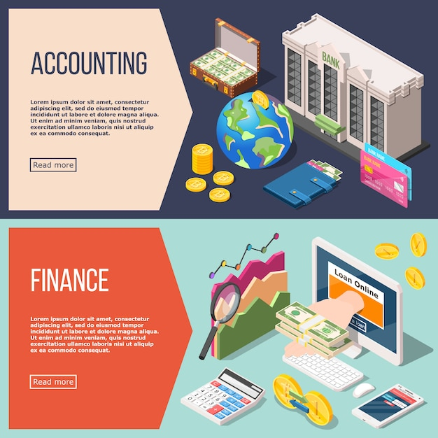 Accounting isometric  banner set set Free Vector