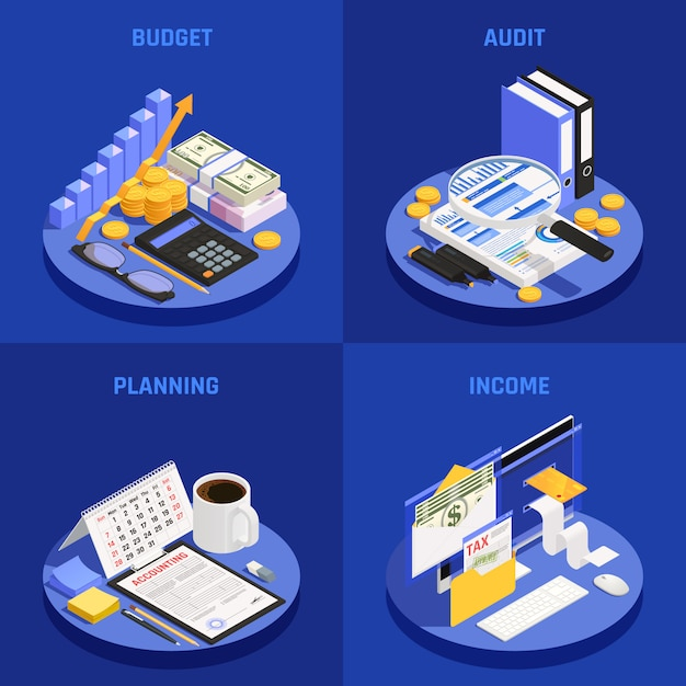 Accounting isometric design concept with budget and audit planning and income blue Free Vector