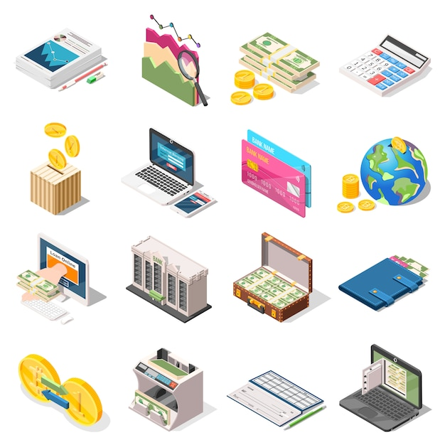 Accounting isometric icons set Free Vector