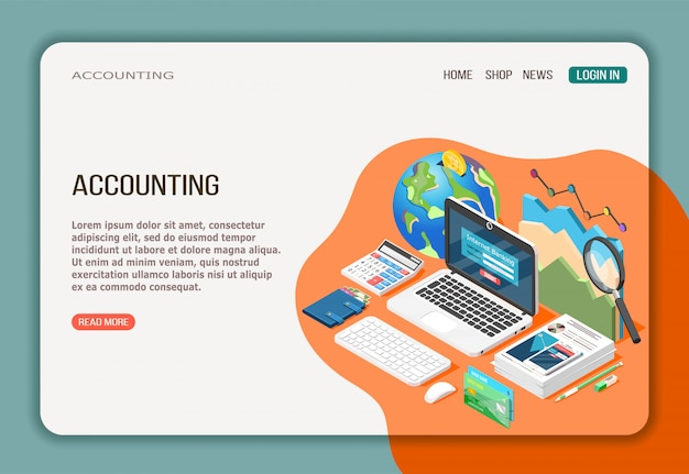Accounting isometric web page with economy analysis internet banking and documentation on white orange Free Vector