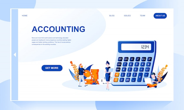 Accounting landing page template with header Premium Vector