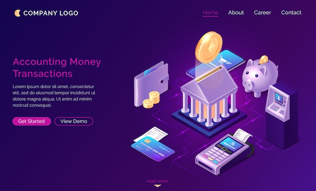 Accounting money transactions landing page Free Vector