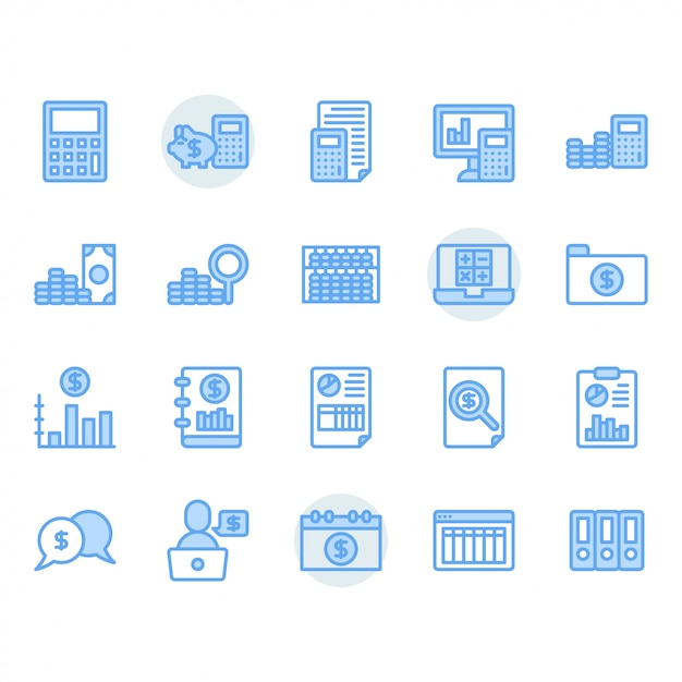 Accounting related icon set Premium Vector