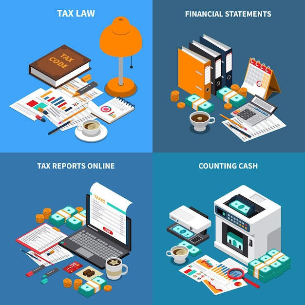 Accounting tax 4 isometric compositions concept with financial statements reports online and cash counting machine Free Vector