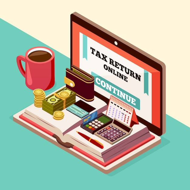 Accounting and taxes isometric composition Free Vector