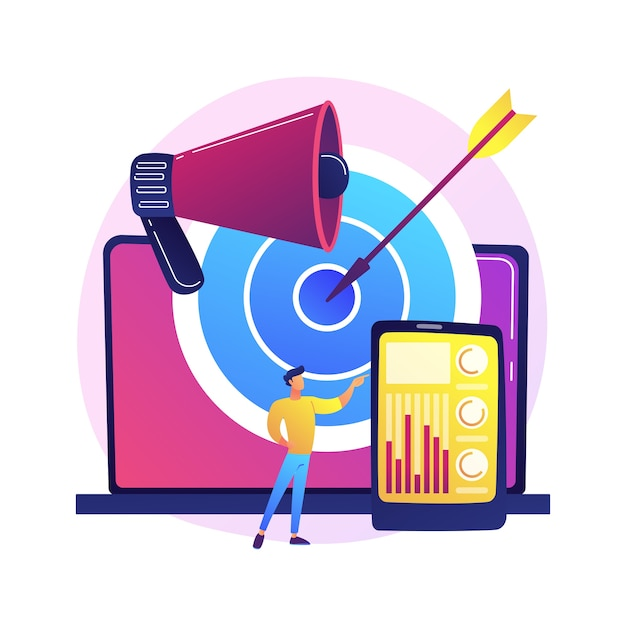 Accurate marketing strategy. content creation and distribution, target audience identification, brand promotion. smm expert analyses user behaviour stats Free Vector
