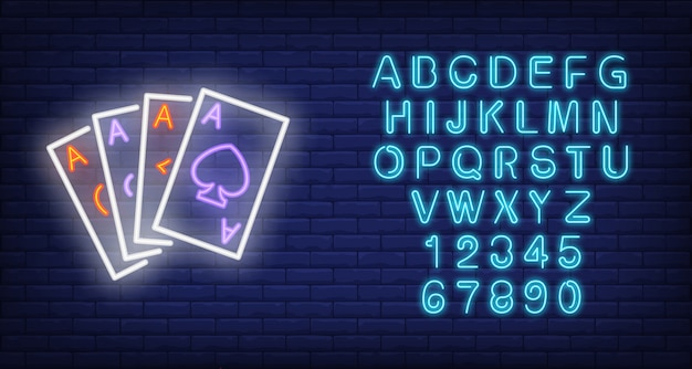Ace cards neon sign Free Vector