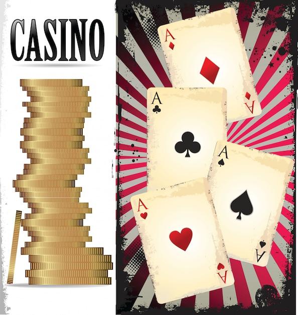 Ace poker with golden poker chips Premium Vector