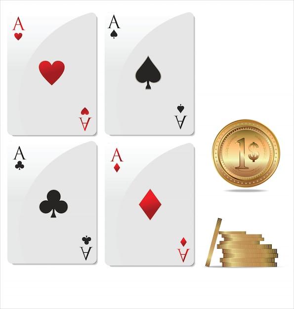Ace poker с золотыми покерными фишками Premium векторы