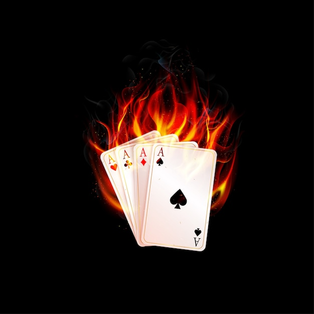 Aces card burning fire on a black background Premium Vector