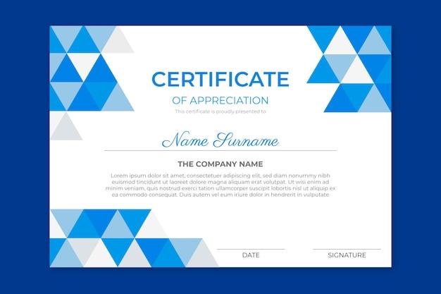 Achievement certificate of appreciation Free Vector