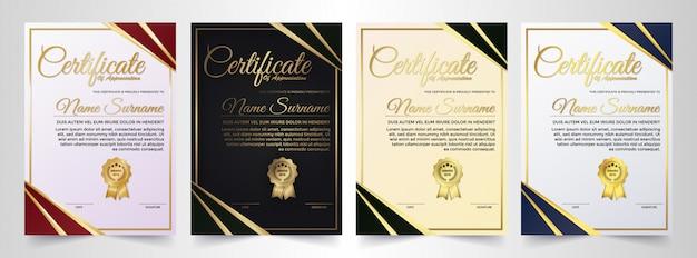 Achievement certificate best award diploma set. Premium Vector