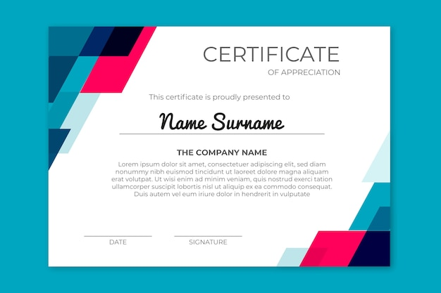 Achievement certificate with geometric shapes Free Vector