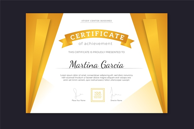 Achievement certificate with golden curtains effect and ribbon Free Vector